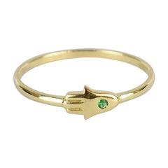 10k 14k 18k Gold Emerald Hamsa Hand Ring Hand of God Ring Stacking Ring