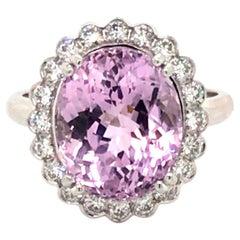 Kunzite and Scallop Set Diamond Cluster Ring