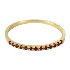18k 14k 10k Solid Gold Natural Ruby Half Eternity Ring July Birth Stone Ring
