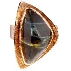 Mid-Century Modern Tiger's Eye Gold Ring