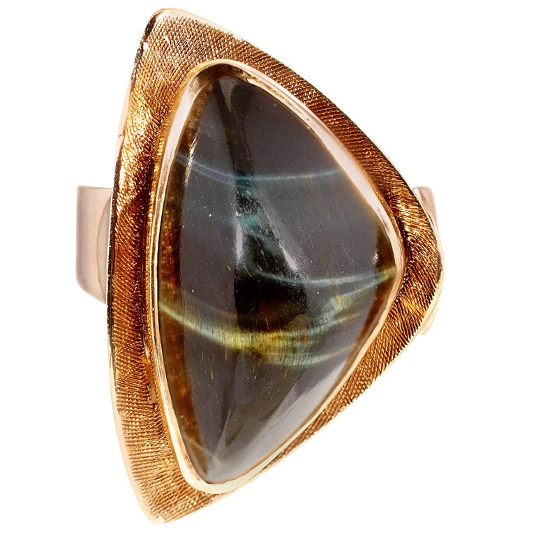 Mid-Century Modern Tiger's Eye Gold Ring For Sale