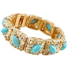 Turquoise Diamond Two Color Gold Bracelet