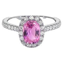 Ceylon Pink Sapphire Diamond Ring 18 Karat White Gold