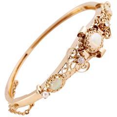 Lovely Pearl Opal Diamond Gold Bracelet