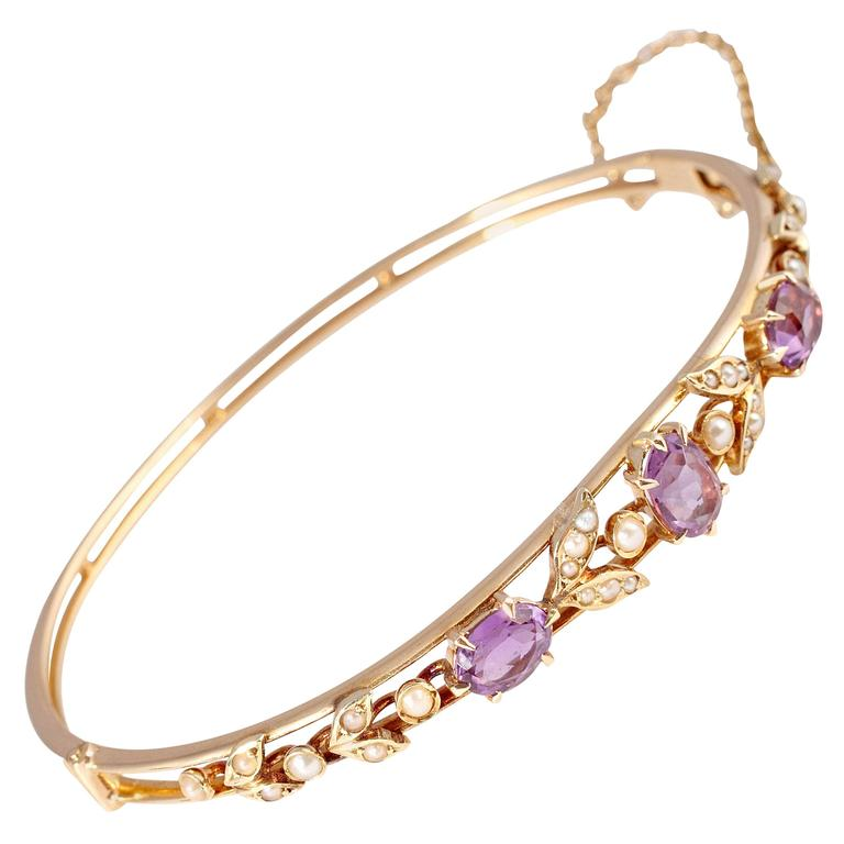 Lovely Victorian Pearl Amethyst Gold Bracelet at 1stdibs
