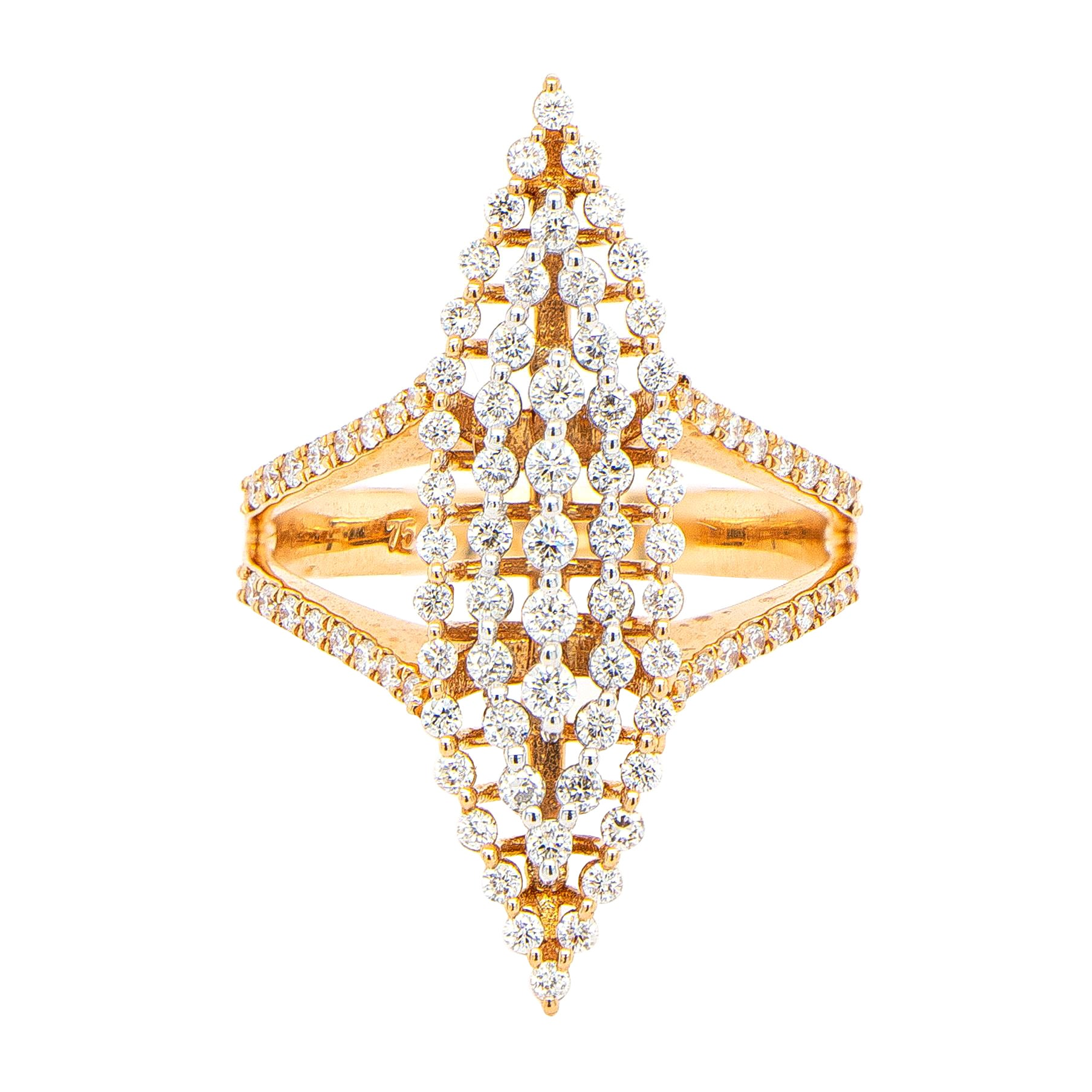 Diamond Cocktail Ring 0.64 Carats 18K Rose Gold