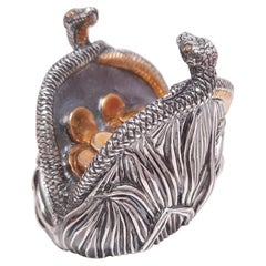 Genuine Silver Gold Plated Miniature Snake Fortune Purse