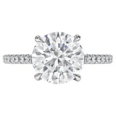 Exceptional Flawless GIA Certified 3.28 Carat Round Brilliant Cut Diamond Ring