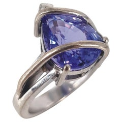 17ct White Gold Pear Cut Tanzanite & Diamond Ring