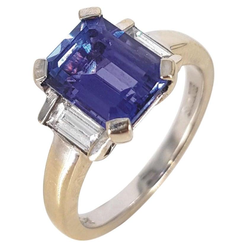 18ct White Gold Emerald Cut Tanzanite & Diamond Ring