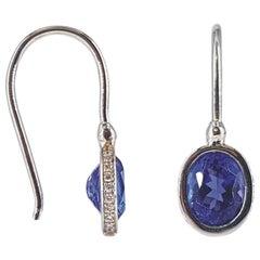 18ct White Gold Tanzanite & Diamond Drop Earrings