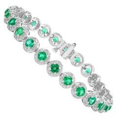 5.88 Carat Round Cut Emerald and Diamond Tennis Bracelet in 14K White Gold