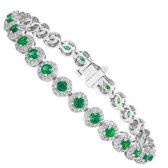 3.05 Carat Round Cut Emerald and Diamond Tennis Bracelet in 14K White Gold