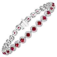 4.62 Carat Round Cut Ruby and Diamond Tennis Bracelet in 14K White Gold