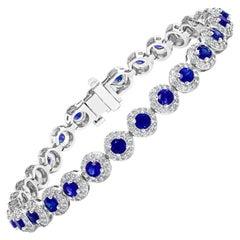 4.40 Carat Round Cut Sapphire and Diamond Tennis Bracelet in 14K White Gold