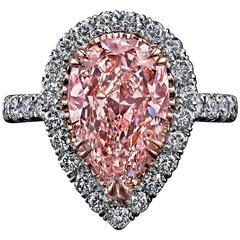 1.72 Carat GIA Cert Fancy Light Pink Diamond Gold Platinum Halo Engagement Ring