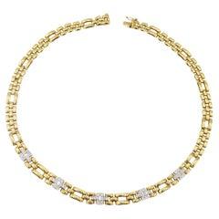 Alternating Diamond 18K Gold Panther Link Necklace
