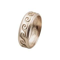 Customizable 18 Karat White Gold Wave Unisex Design Engagement Band Ring
