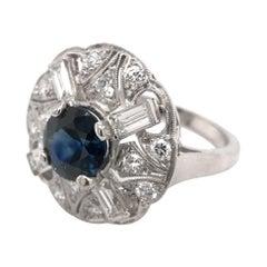 Retro Era 1.82 Carat Sapphire Diamond Platinum Cocktail Ring
