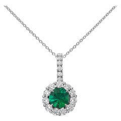 Roman Malakov, Round Emerald and Diamond Halo Pendant Necklace