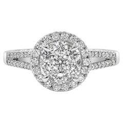 Roman Malakov, 0.82 Carat Cluster Diamond Split-Shank Engagement Ring