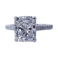 David Rosenberg 3.03 Carat Cushion E SI1 GIA Engagement Diamond Ring