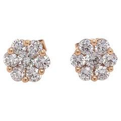 Rose Gold Flower/Rose Shaped Diamond Stud Earrings