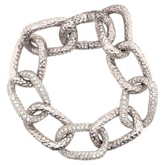 5.65ct Diamond Chain Bracelet Hammer Finished 18k White Gold