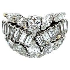 Gorgeous Vintage Diamond Tiara Cluster Eternity Ring Band in Platinum, 6.00ct