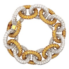 48.75 Diamond and Yellow Sapphire Chain Pave Bracelet 18k White & Yellow Gold