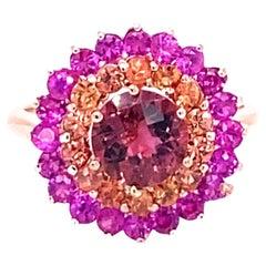 3.07 Carat Tourmaline Sapphire 14 Karat Rose Gold Cluster Ring