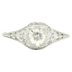 Antique Art Deco Diamond Engagement Ring 1/2 Ct. Old European Filigree Engraved