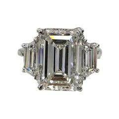 GIA Certified Three Stone Emerald Cut Diamond Engagement Ring E Color VVS2