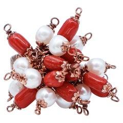 Corals, Pearls, Silver Retrò Ring