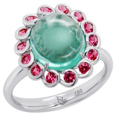 3.74 Ct Russian Emerald Cabochon and Spinel 18K Gold Ring