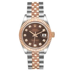 Rolex Datejust Steel Rose Gold Chocolate Diamond Dial Watch 279171 Unworn