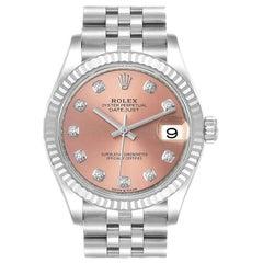 Rolex Datejust Midsize 31 Steel White Gold Pink Dial Watch 278274 Unworn