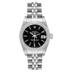 Rolex Datejust 26 Steel White Gold Black Dial Ladies Watch 79174 Box Papers