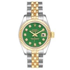 Rolex Datejust 26 Steel Yellow Gold Jade Diamond Dial Watch 179173 Box Card