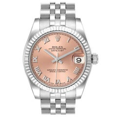 Rolex Datejust Midsize Steel White Gold Salmon Dial Watch 178274 Box Card