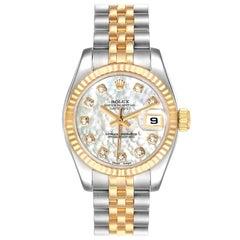Rolex Datejust Steel Yellow Gold MOP Diamond Ladies Watch 179173 Box Card