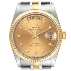 Tudor Day Date Steel Yellow Gold Champagne Diamond Dial Watch 76213 Unworn