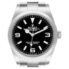 Rolex Explorer I Black Dial Stainless Steel Mens Watch 124270 Unworn