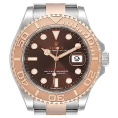 Rolex Yachtmaster 40 Everose Gold Steel Brown Dial Watch 116621 Unworn