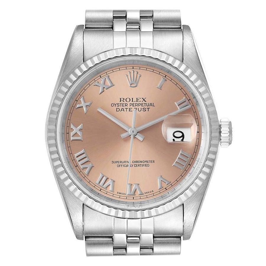 Rolex Datejust 36 Steel White Gold Salmon Dial Mens Watch 16234