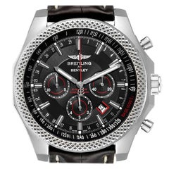 Breitling Bentley Barnato Black Red Dial Steel Watch A25368 Box Papers