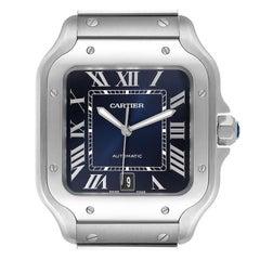 Cartier Santos Blue Dial Stainless Steel Mens Watch WSSA0030 Unworn