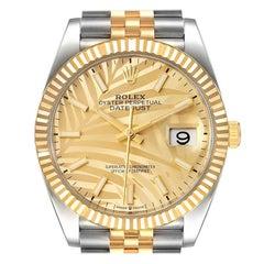 Rolex Datejust Steel Yellow Gold Golden Palm Dial Mens Watch 126233 Unworn