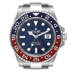 Rolex GMT Master II 18k White Gold Pepsi Bezel Blue Dial Mens Watch 126719