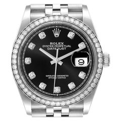Rolex Datejust Steel Black Diamond Dial Bezel Mens Watch 126284 Box Card